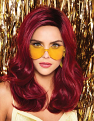 Poise & Berry Wig on a girl with heart glasses